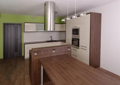 Kuchyně – Mikulčice, materiál ořech, jasmín lesk
